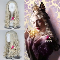 New Movie Alice in Wonderland White Queen Wig Women Long Blonde Curly Cosplay Costume Wig