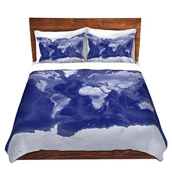 DiaNoche Designs Microfiber Duvet Covers Catherine Holcombe - World Map Blue