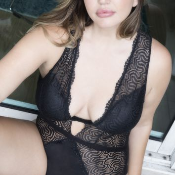 Plus Size Curvy Black Lingerie Teddy