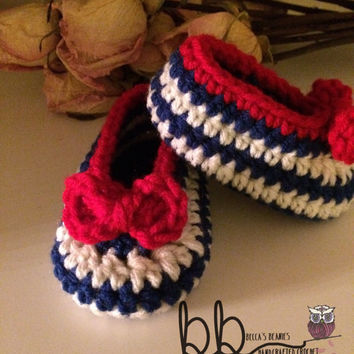 Sailor booties and headband - newborn to 12 month - crochet made to order