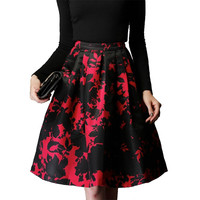 2017 New Ladies Skirt Autumn Winter Vintage High Waist Tutu Skirt Women Midi Skirt Print Pleated Skirts Vestidos