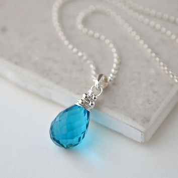 Teal Gemstone Necklace in Sterling Silver, Blue Quartz Briolette Pendant
