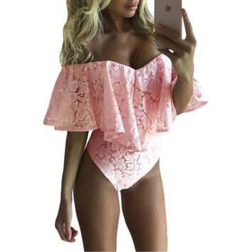 Sexy Floral Lace Bodysuit Women Rompers Overalls Mesh Neck Mini Body Playsuit Bodycon Jumpsuit