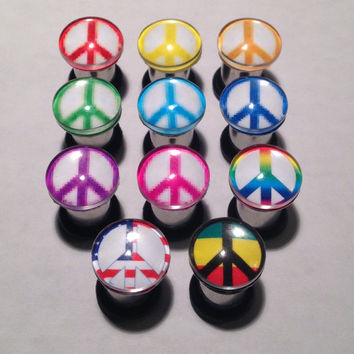 Peace Sign Picture Plugs & Earrings 14g-00g