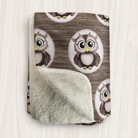 Rustic Owl Sherpa Fleece Blanket - Brown with Pink Cute Owl and Wood Pattern - 2 sizes available - Made to Order