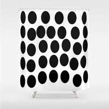 "MegaDots Shower Curtain 71"" X 74"",Bathroom Decor,black,white,polka dots,pop art,home decor,chic"