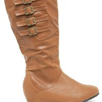 A'GACI Candies 81 Four Buckle Hid Wedge PU Boot - BOOTS