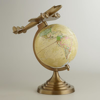 Antique Brass Plane Globe - World Market
