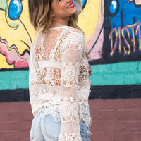 Bohemian Shutterbabe  Crochet Lace Top- NATURAL