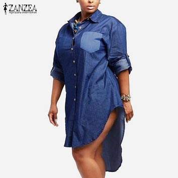 Oversized Dress  Spring Autumn ZANZEA Women Denim Vintage Lapel Long Sleeve Irregular Hem Long Jeans Blouse Shirt Plus Size