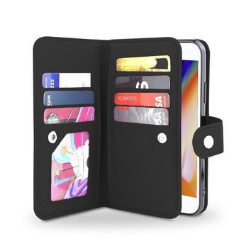 ICIKRQ5 Gear Beast iPhone 8 / 7 Wallet Case, Flip Cover Dual Folio Slim Protective PU Leather Case 7 Slot Card Holder Including ID Holder Plus Cash/Receipt Pockets For Men Women Bonus Screen Protector - Black