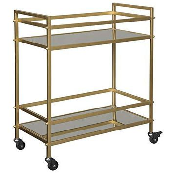 Ashley Furniture Signature Design - Jackford Bar Cart - Mid Century Style, 2 Shelves with Casters, Clear Glass, Antique Gold Finish