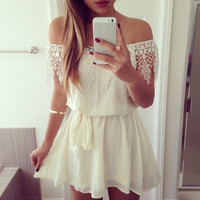 Word shoulder chiffon sexy white lace dress AW1020BI
