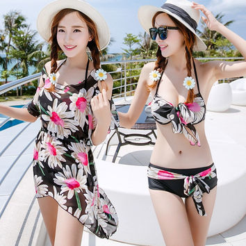 Womens Beautiful Floral Bikini With Coverup Swimsuit
