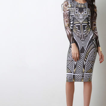 Abstract Squares Geometrical Mesh Sleeves Dress