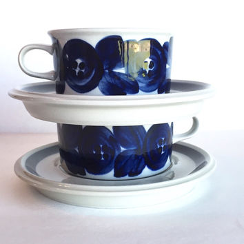 Arabia Finland Anemone Flat Cup and Saucer Set Signed Ulla Procope