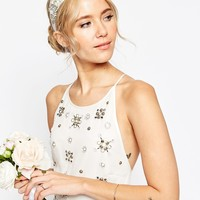 ASOS WEDDING Stone Flower Headband