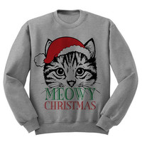 Cat and Christmas Print Long Sleeve Sweatshirt
