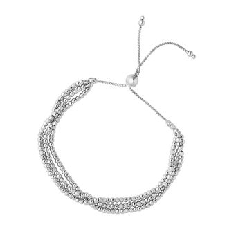 Silver with Rhodium Finish 1.5mm Laser Diamond  Cut 3-Strand Bead Bracelet on 1mm Octagon Box Lin k with Draw String Clasp