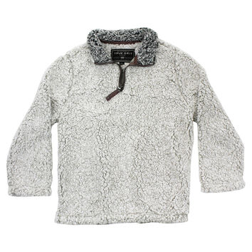 YOUTH Frosty Tip 1/4 Zip Pullover in Putty by True Grit