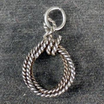Vintage Silver Charm – Nicely Coiled Rope Lariat or Western Lasso