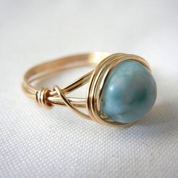 14kt Gold-Filled Wire Wrapped Larimar Ring