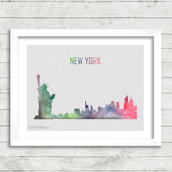 New York City Skyline Watercolor Print, Statue of Liberty Cityscape Watercolor Art, Home Decor, Not Framed, Buy 2 Get 1 Free! [No. 1-8]