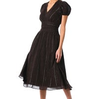 Lurex stripe cotton pleat waist dress