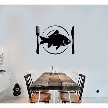 Vinyl Wall Decal Fish Dish Cutlery Dining Room Decor Stickers (3715ig)