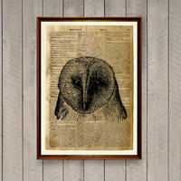 Owl poster Lodge decor Animal art print WA694