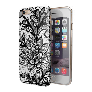 Black and White Geometric Floral 2-Piece Hybrid INK-Fuzed Case for the iPhone 6/6s or 6/6s Plus