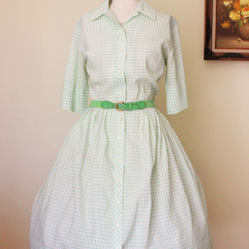 Vintage 1950s Shirtwaist Checked Dress With Belt