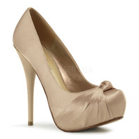 Champagne Satin Gorgeous Knot Platform Heels - Unique Vintage - Cocktail, Pinup, Holiday & Prom Dresses.