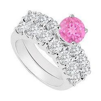 14K White Gold : Pink Sapphire and Diamond Engagement Ring with Wedding Band Set 1.15 CT TGW