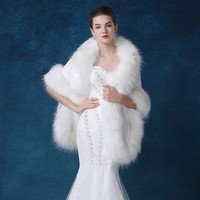 Women Winter Jackets Ivory Faux Fur Ostrich Feather Wedding Wraps Capes Special Occasion Party Shawls Coat