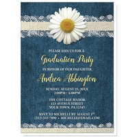 Daisy Burlap and Lace Denim Graduation Invitations