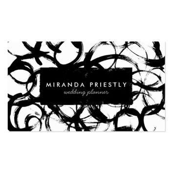Elegant Black & White Brushstrokes Wedding Planner Business Card