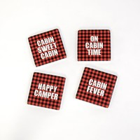 SET OF 4 BUFFALO CHECK COASTERS