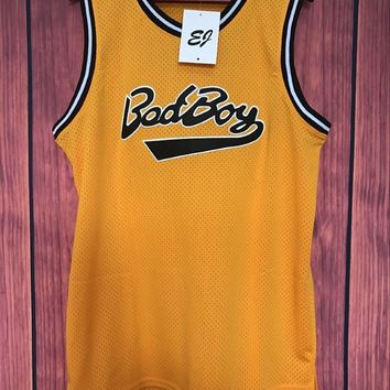 EJ Biggie Smalls #72 Bad Boy Notorious BIG Basketball Jersey Stitched YELLOW S-3XL