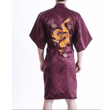 Free Shipping Burgundy Chinese Men's Silk Satin Robe Sleepwear Novelty Embroider Dragon Bathrobe Kimono Gown Size S-3XL 011021