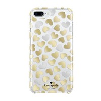 kate spade new york Cell Phone Case for iPhone 7 Plus/6 Plus/ 6s Plus - Dancing Hearts Clear / Silver Foil / Gold Foil