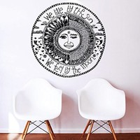 Wall Decals Quotes Sun Moon Crescent Dual Ethnic Stars Night Symbol Sunshine We live by the sun We feel by the moon Quote Wall Vinyl Decal Stickers Bedroom
