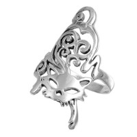 Sterling Silver 30mm Cat Ring (Size 5 - 10) - Size 7