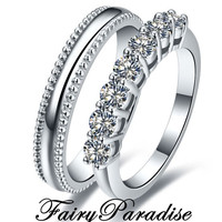 2 pcs Mens Sterling  Silver plain band & Womens 7 lab diamonds (0.1 ct each) Wedding Rings Set Anniversary Bands Promise ring Set w gift box