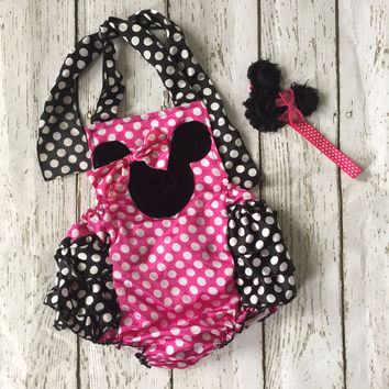 Minnie Mouse Pink Baby Romper Birthday Outfit Cake Smash
