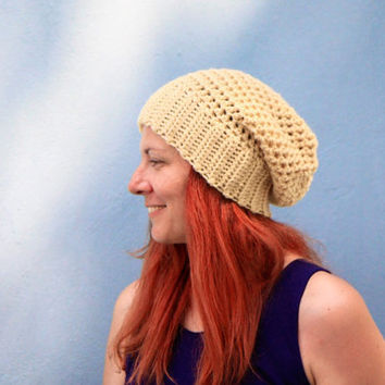 Wheat yellow women chunky hat Clio, winter fashion ready to ship