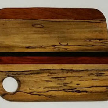 Exotic Cutting/Cheese Board -Spalted South Jersey Oak with Ebony, Paduak and Jatoba Accents. Veteran / Native American Handcrafted
