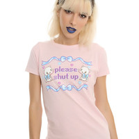 Kitten Pixel Please Shut Up Girls T-shirt