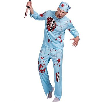 Men Walking Dead Doctor Zombie Bloody Surgeon Costume Carnival Party Adult Male Outfits Scary Bone Physician Halloween Costumes