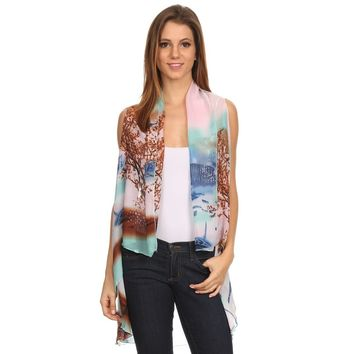 Womens Lightweight Sleeveless Poncho for Spring or Summer.